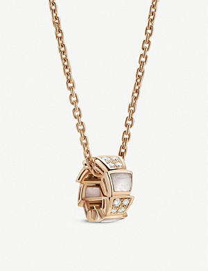 BVLGARI Serpenti Viper 18ct rose-gold, mother-of-pearl and pavé diamond pendant necklace