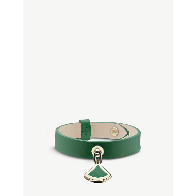 BVLGARI   DIVAS' DREAM Leather And Yellow-Gold Plated Brass Bracelet   Goxip
