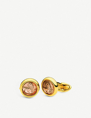 BVLGARI Monete Antiche 18kt yellow-gold cufflinks with antique coins