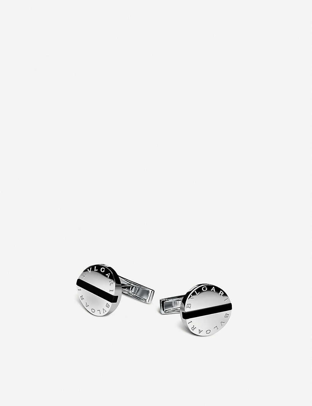 BVLGARI - Bvlgari-Bvlgari sterling silver and black onyx cufflinks