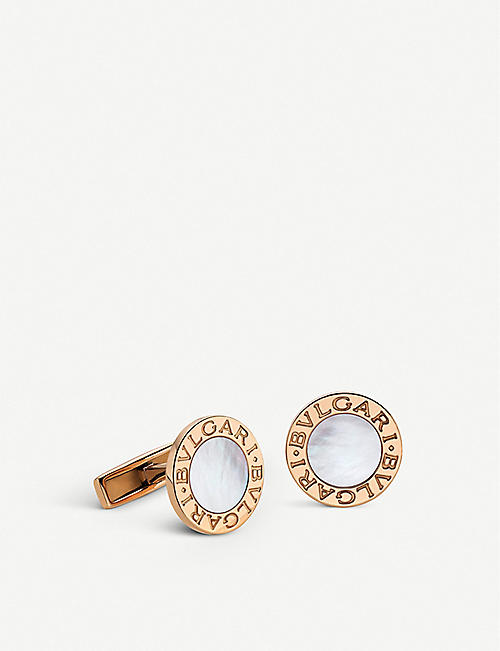 BVLGARI BVLGARI-BVLGARI 18kt pink-gold and mother-of-pearl cufflinks