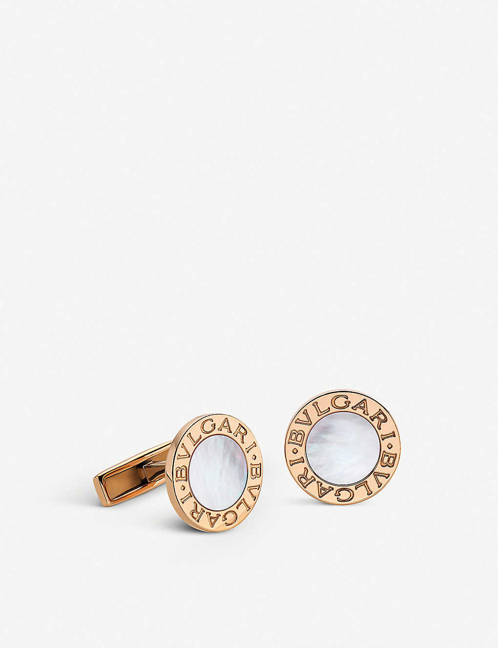 BVLGARI: BVLGARI-BVLGARI 18kt pink-gold and mother-of-pearl cufflinks