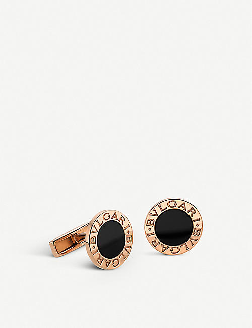 BVLGARI: BVLGARI-BVLGARI pink-gold and black onyx cufflinks