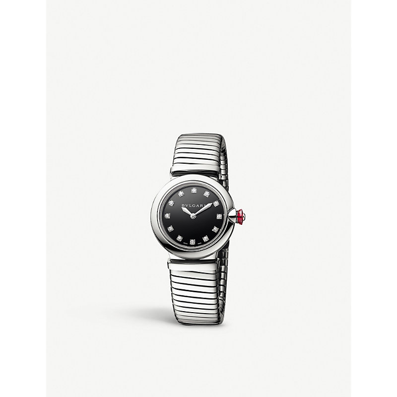 Bvlgari 102951 Lvcea Tubogas Stainless Steel And Diamond Watch In Black