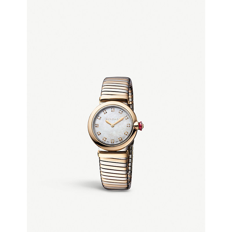 Bvlgari 102952 Lvcea Tubogas 18ct Rose-gold, Mother-of-pearl And Diamond Watch In White