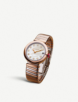 BVLGARI LVCEA Tubogas 18kt rose-gold, diamond and stainless steel watch