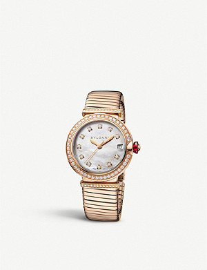 BVLGARI 103034 LVCEA Tubogas 18ct rose-gold watch