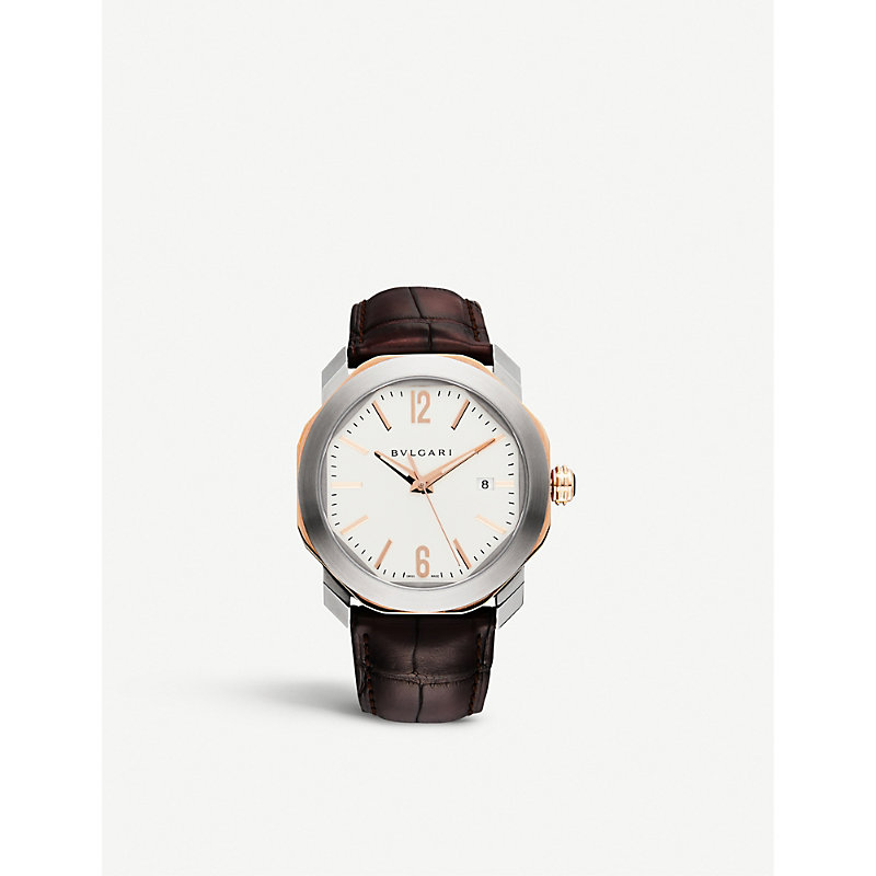 BVLGARI | Bvlgari Octo 18ct Pink-Gold And Leather Watch, Mens | Goxip