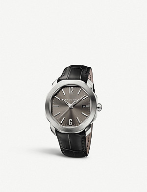 BVLGARI Octo Roma stainless steel and alligator-leather watch