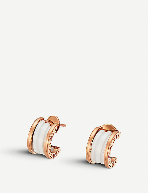 BVLGARI: B.zero1 18kt pink-gold and ceramic earrings