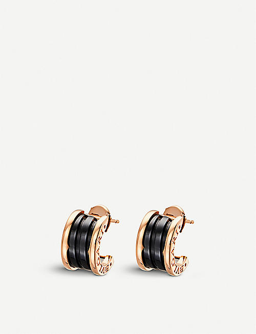BVLGARI: B.zero1 18kt pink-gold earrings with black ceramic