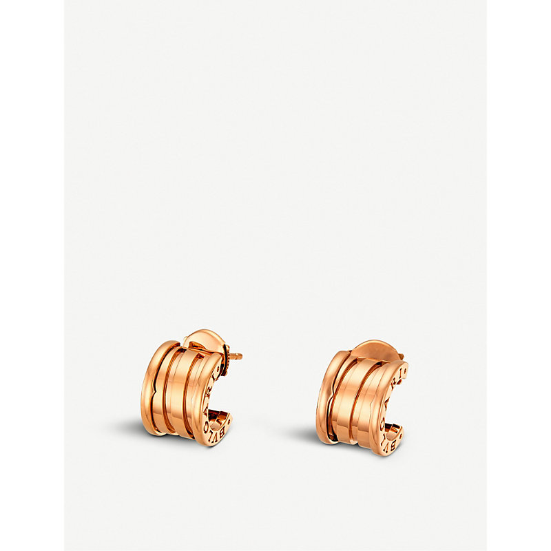 BVLGARI   Bvlgari B.Zero 1 18ct Pink-Gold Hoop Earrings   Goxip