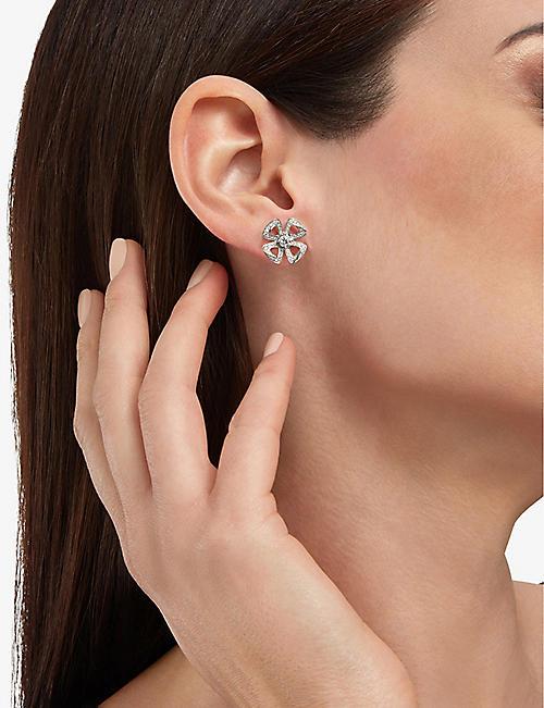 12ea1ab1c BVLGARI Fiorever 18ct white-gold and diamond earrings