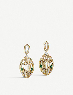 BVLGARI Serpenti 18ct gold with emerald and pavé diamonds earrings