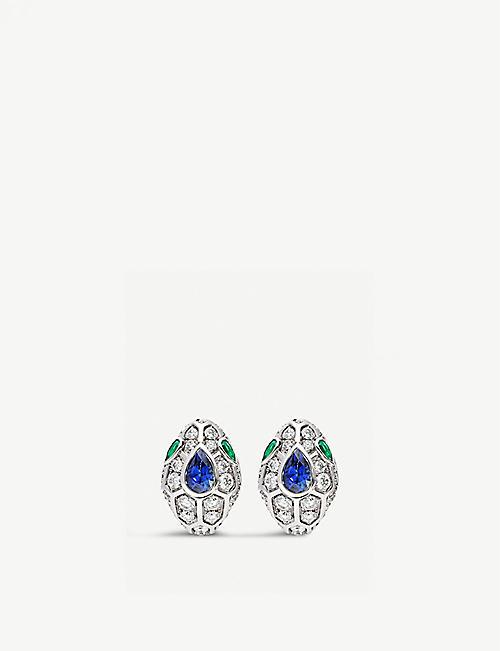 790b4c94d BVLGARI Serpenti 18kt white-gold, blue sapphire, emerald and pavé diamond  earrings