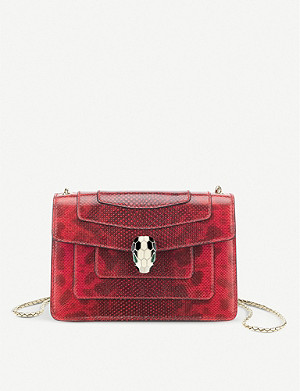 BVLGARI Serpenti Forever micro snake-embossed leather cross-body belt bag