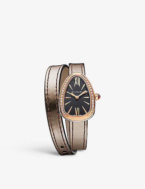 BVLGARI Serpenti 18ct pink-gold and diamond watch