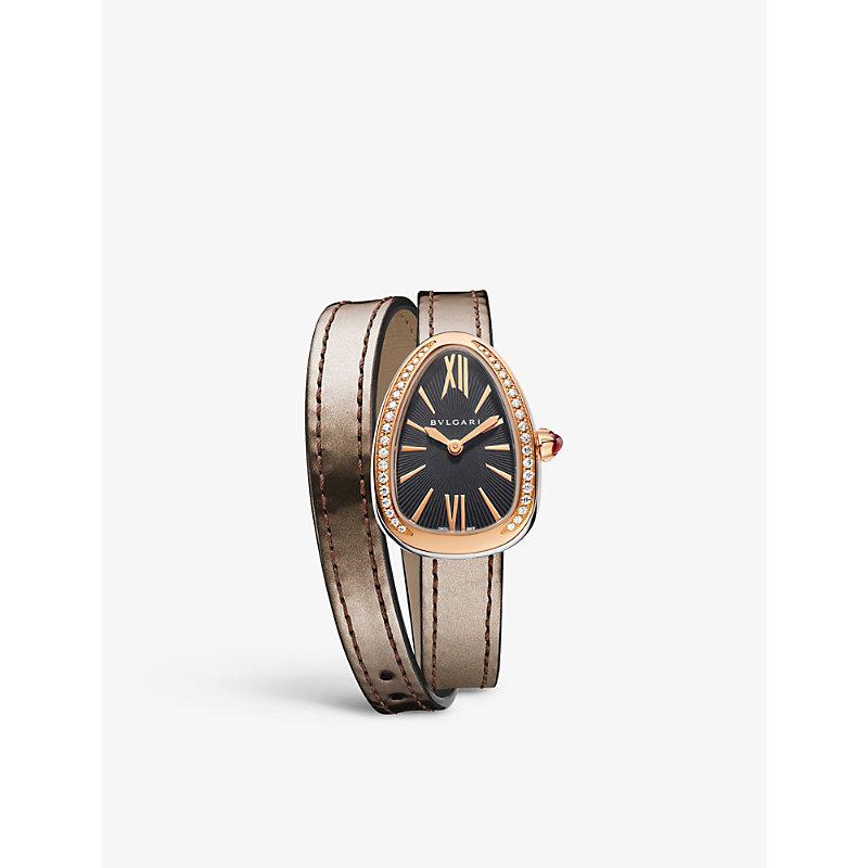 BVLGARI   Serpenti 18ct Pink-Gold And Diamond Watch   Goxip