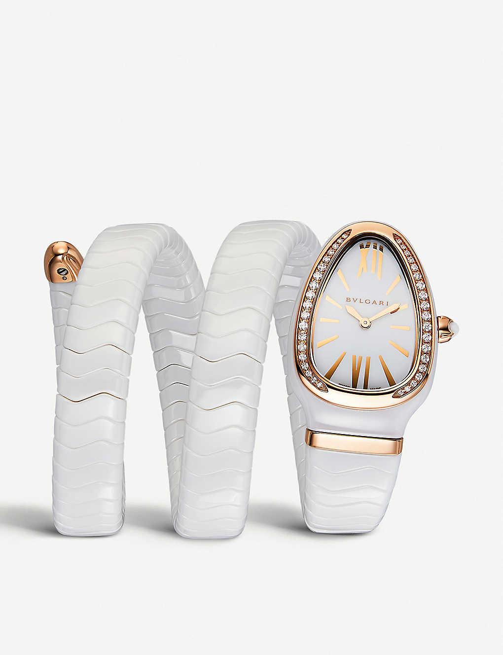 d7549e6453525 BVLGARI - Serpenti Spiga 18ct rose-gold and diamond watch ...