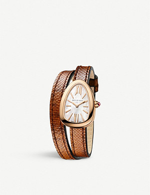 BVLGARI SPP32WGL Serpenti 18ct rose-gold and leather watch