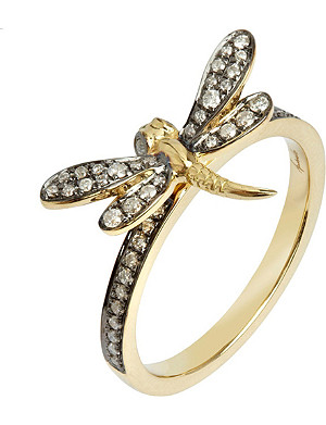 ANNOUSHKA Love Diamonds 18ct yellow-gold dragonfly ring