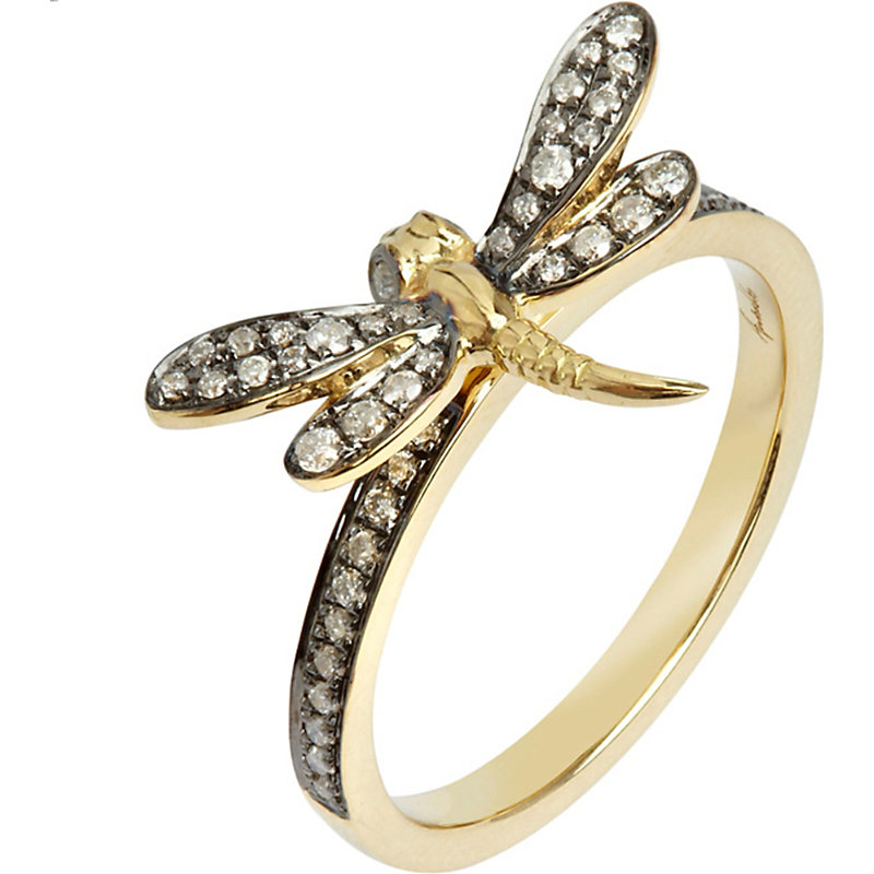 Love Diamonds 18Ct Yellow-Gold Dragonfly Ring