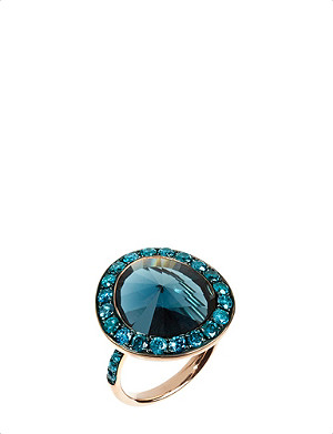 ANNOUSHKA Dusty Diamonds 18ct rose-gold, topaz and diamond ring