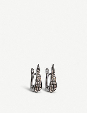 ANNOUSHKA Dusty Diamond 18ct white-gold brown diamond hoop earrings