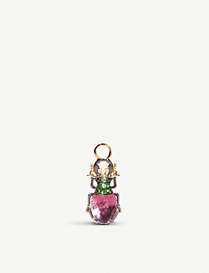 ANNOUSHKA Scarab 18ct rose-gold, amethyst, tsavorite and black diamond single earring drop