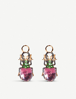ANNOUSHKA Mythology 18ct rose-gold, amethyst, tsavorite and black diamond earrings