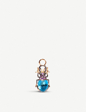 ANNOUSHKA Scarab 18ct rose-gold, topaz, amethyst and black diamond single earring drop