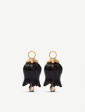 ANNOUSHKA Tulip Drops 18ct yellow gold, ebony and diamond earrings