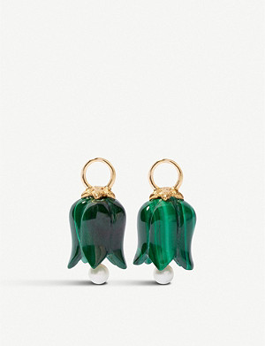 ANNOUSHKA 18ct yellow-gold and malachite earring drops