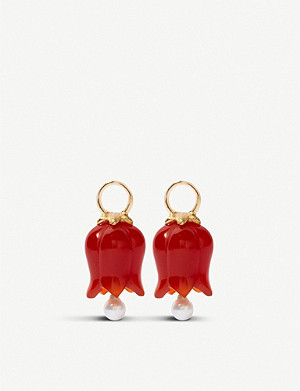 ANNOUSHKA 18ct yellow-gold and agate earring drops