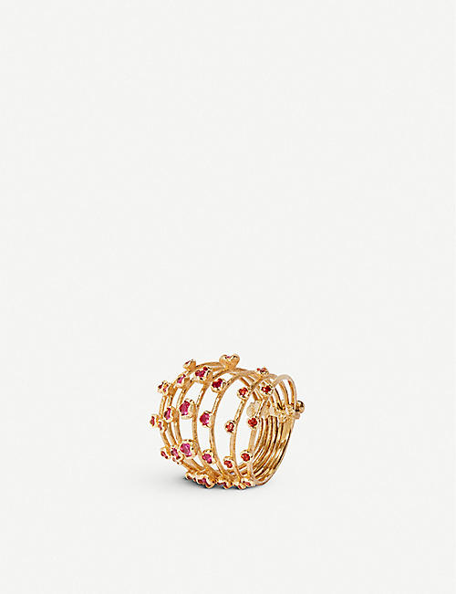 ANNOUSHKA Hidden Reef 18ct yellow-gold and sapphire ring
