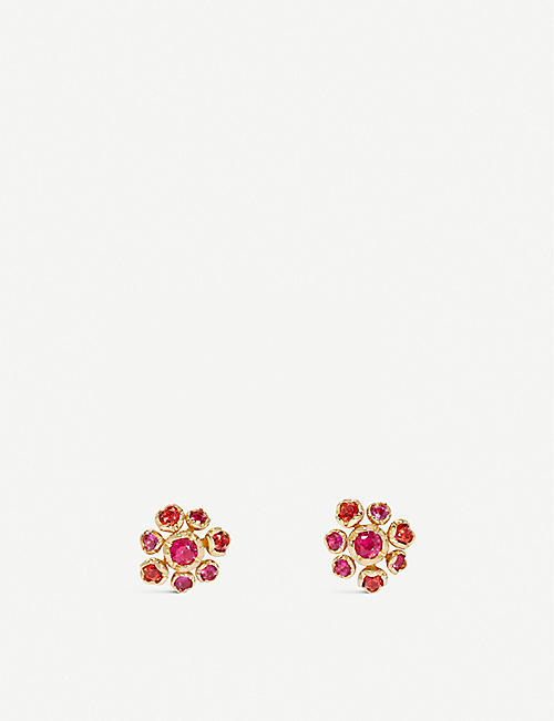 ANNOUSHKA Hidden Reef 18ct yellow-gold and sapphire stud earrings