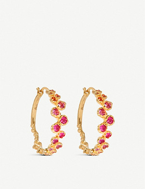 ANNOUSHKA Hidden Reef 18ct yellow-gold and sapphire hoop earrings