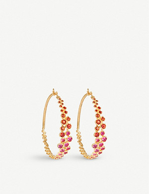 ANNOUSHKA Hidden Reef 18ct yellow-gold and sapphire large hoop earrings
