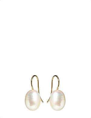 ANNOUSHKA Classic baroque pearl and 18ct yellow-gold drop earrings
