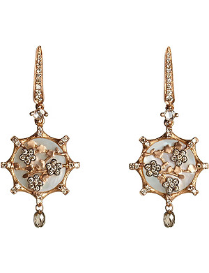 ANNOUSHKA Dream Catcher 18ct rose gold, diamond and mother of pearl earrings