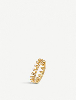 ANNOUSHKA Crown 18ct yellow gold and white diamond Crown ring