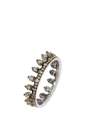 ANNOUSHKA 18ct white gold and brown diamond Crown ring