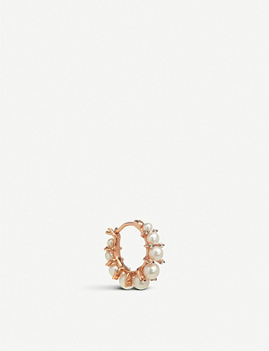 ANNOUSHKA Diamonds & Pearls 18ct rose-gold single hoop earring