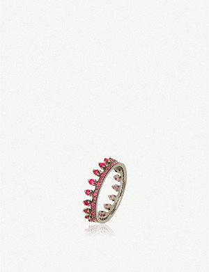 ANNOUSHKA Crown 18ct white gold and ruby ring