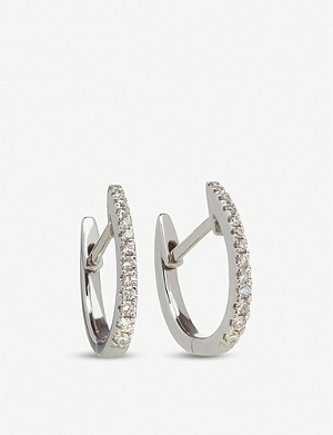 ANNOUSHKA 18ct white gold and diamond Eclipse fine hoop earrings