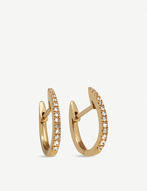 ANNOUSHKA 18ct yellow gold and brown diamond Eclipse fine hoop earrings