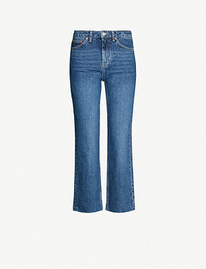 TOPSHOP Mid-rise straight cropped jeans