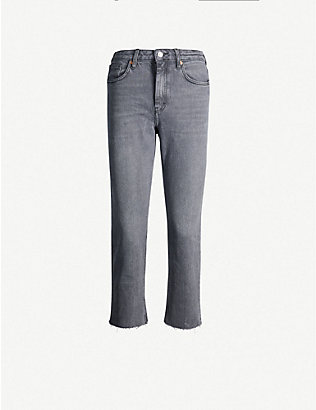 TOPSHOP: Raw-hem straight high-rise jeans