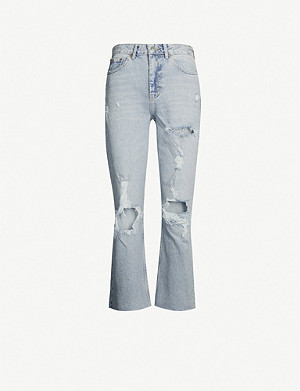 TOPSHOP Ripped bleached crop jeans