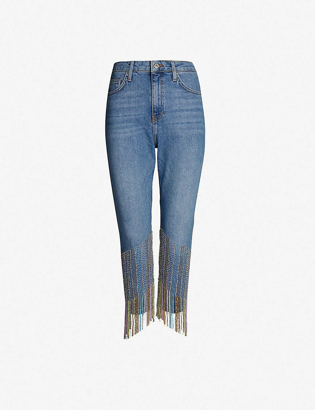 TOPSHOP - Carnival Dazzle cropped high-rise embellished
